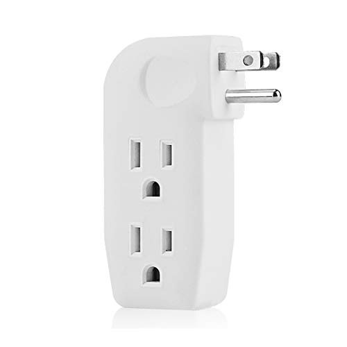 Plug Adapter Dual - 3 Way Outlet Vertical Wall Tap Splitter Adapter with 3 Prong Plug for behind furniture, hard plastic,UL listed