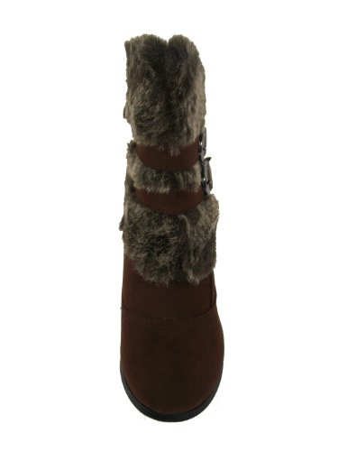 Anna Nb200-08 Kvinners Høy Hæl Støvletter Med Falsk Pels - Chocoate (brune) Størrelse 6 M