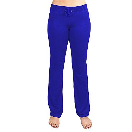 Crown Sporting Goods Soft & Comfy Yoga Pants – 95% Cotton/5% Spandex Blend (Blue, S)