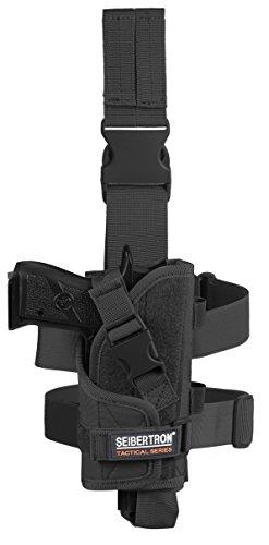 Seibertron Adjustable Tactical/Airsoft Hunting Right Handed Leg Pistol Gun Holster/Pouch Holder Drop Leg Thigh Holster Black