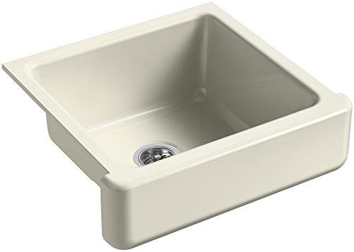 KOHLER K-5664-FD Whitehaven Self-Trimming 23-1/2-Inch x 21-9/16-Inch x 9-5/8-Inch Undermount Single-Bowl Kitchen Sink with Short Apron, Cane Sugar