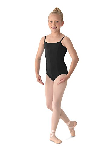 (Mirella Girl's Princess Seam V-Front Camisole Leotard, Black, 8-10)