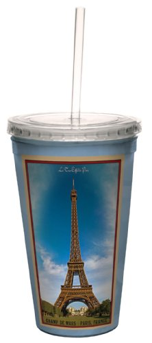Tree-Free Greetings cc33096 Vintage Paris France Eiffel tower by Nate Atwood Artful Traveler Double-Walled Cool Cup with Reusable Straw, (Eiffel Tower Merchandise)