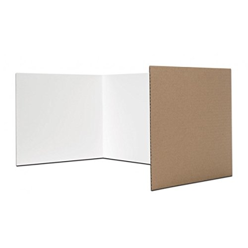 Pack of 24 Corrugated Study Carrels or Privacy Shields (12x48in; White) - only $3.04 each! by Flipside