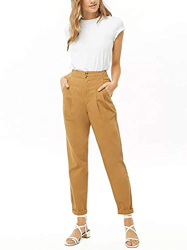 Sepomisdo Women's Trouser Pants Slim Casual Cropped Button Pleat-Front High Waist Pants with ()