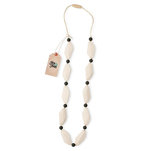 Fox and Finn 'Sophia' Silicone Teething Necklace for Babies   Safety Knotted Silk Rope   Does Not Pull Out Hair   14 Inch Drop (Coconut)