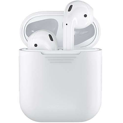 PodSkinz AirPods Case Protective Silicone Cover and Skin Compatible with Apple Airpods Charging Case (White)