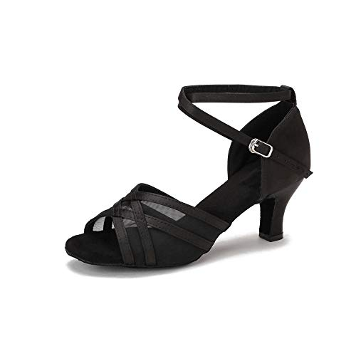 Akanu Women's Latin Dance Shoes Female's Ballroom Salsa Dance Shoes(E-Style Black Size 11)