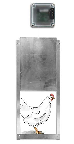Automatic Chicken Coop Door Opener + Door - Light Sensing - Indoor/Outdoor - Battery Powered (6 Months) (Pack of 1)