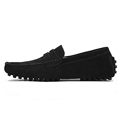Cosplay-X Men Loafer Slip-on Shoes Genuine Leather Fashion Driving Boat Casual Walking Performance Dress Shoes(Black,Lable 38/5.5 D(M) US Men)