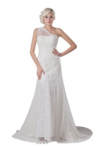 VogueZone009 Womens One Shoulder Sleeveless Satin Wedding Dress with Floral, White, 8