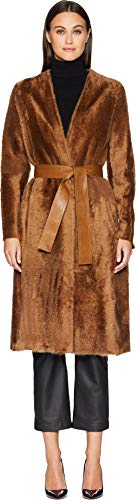 Vince Women's Belted Shearling Coat Camel Large