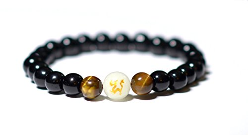 EUPHORIA : Defender Jewelry Collection : Black Onyx and Tiger's Eye Natural Stone with Glow bead Buddha Meditation Yoga Men Women Luxury Bracelet (Limited edition) (Watch Eye Beaded Tigers)