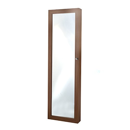 Brown Cherry Armoire (Mirrored Jewelry Armoire, Cherry)