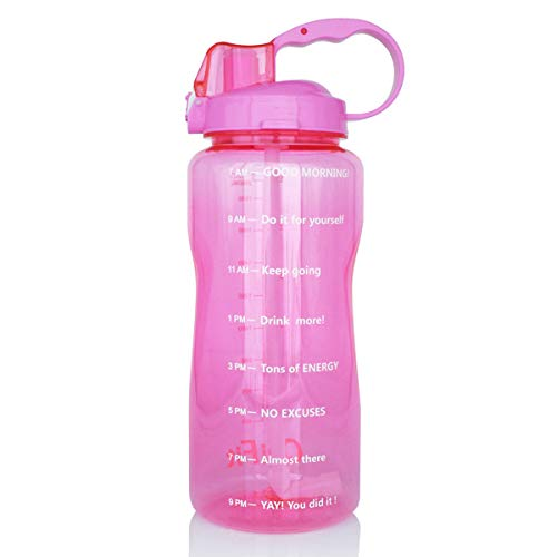 BuildLife Motivational Gallon Water Bottle 64OZ with Unique Timeline/Measurements/Goal Marked Times for Measuring Your Daily Water Intake, Large BPA Free Non-Toxic Water Jug (64OZ, 64OZ-Pink) ()