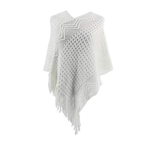 Girls Boho Knitted V- Neck Pullover Poncho Cardigan- Crochet Asymmetrical Wrap Shawl w/Tassel ()