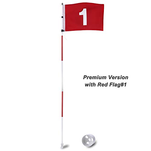 Golf Flags Green - KINGTOP Upgraded Professional Portable Golf Pole Flags, Practice Putting Green Flagstick Hole Cup Set, Indoor/Outdoor, 5-Section Design, Solid Red Flag Numbered #1, 71-inch
