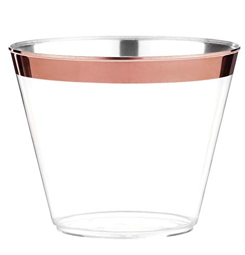 100 Rose Gold Plastic Cups - 9 Oz Disposable Gold Rimmed Plastic Tumblers For Party Holiday Wedding and Occasions - Fancy Party Cups with Gold Rim (Roses Cup)