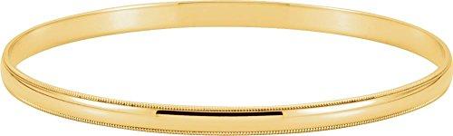 14K Yellow Gold 4mm Milgrain Edge Bangle Bracelet 14k Yellow Gold Milgrain Edge