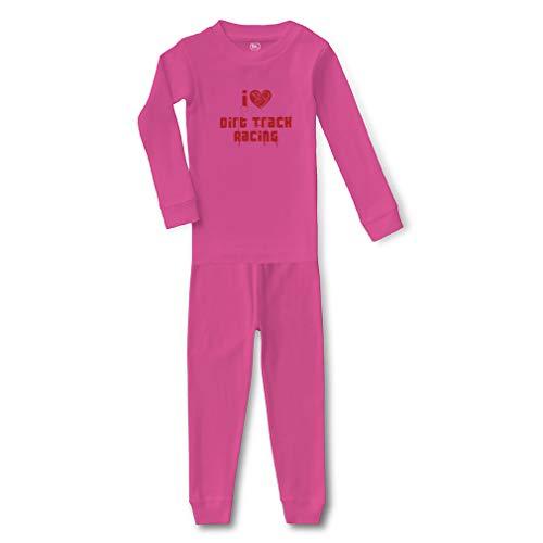 I Love Dirt Track Racing Cotton Crewneck Boys-Girls Infant Long Sleeve Sleepwear Pajama 2 Pcs Set Top and Pant - Hot Pink, 12 Months
