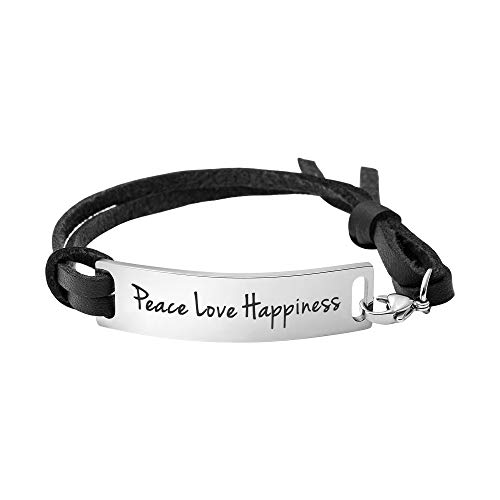 Yiyang Peace Love Happiness Bracelet Simple Cuff Stainless Steel Inspirational Leather Wrap Bangle ()