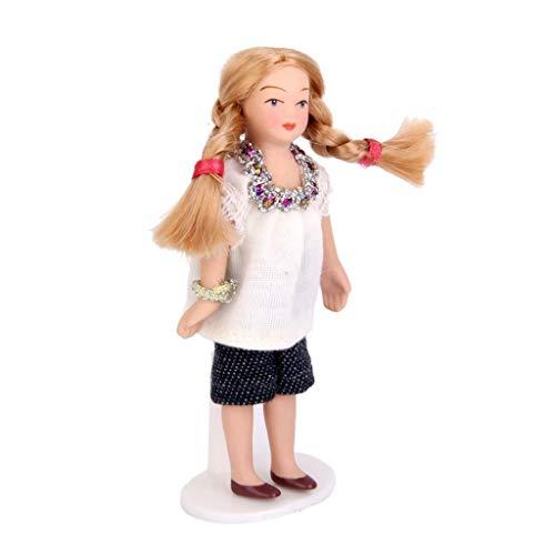 1:12 Dollhouse Porcelain Dolls People Braided Hair Girl in White T-Shirt New ()