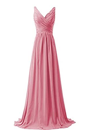 WeiYin Women's Chiffon V-neck Sleeveless Bridemaid Dresses Blush US 2