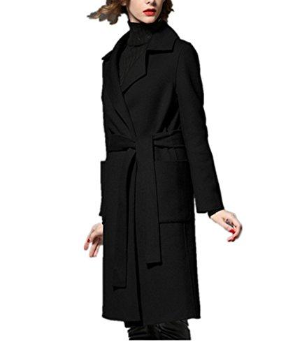 Charles WesT 2017 Winter Models Large Size Women's Wool Coat Women's Long Section Of Windbreaker Woolen Jacket Black (Charles Wool Coat)