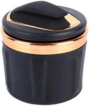 Wakauto 蓋付きステンレススチール車の灰皿多機能ポータブル灰皿タバコ灰皿灰、車のカップホルダーホームオフィス用のLEDライト付き(金色)