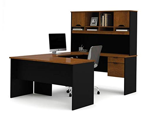Sleek Black and Tuscany Brown U-Shaped Desk and Hutch