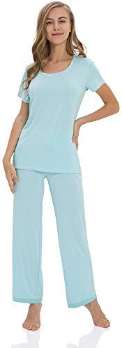 GYS Women's Scoop Neck Short Sleeve Pajama Set with Long Pants, Aqua, Large