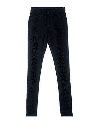 Lápiz Rasgados Cintura Delgados Pantalones Alta Mujer Schwarz Elásticos Sólidos Mujeres Colores Mezclilla Vaqueros De Casuales zXxgqTwv