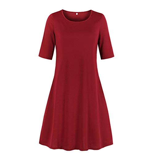 Sunmoot Clearance Sale Womens Floral Skater Dress,Ladies Pleated Smock O-Neck Short Sleeve Casual Swing Loose Dresses Wine - Dress Jersey Grecian