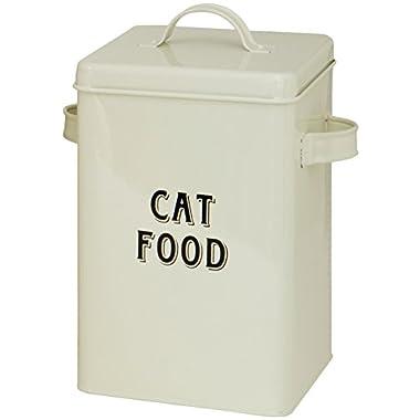 Maturi Cream Metal Cat Food Storage Container Tin with Scoop