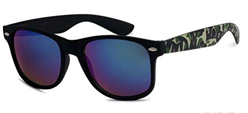 Sunglasses Classic 80's Vintage Style Design Camoflage Pattern (Green Camo, - Camo Wayfarer Sunglasses