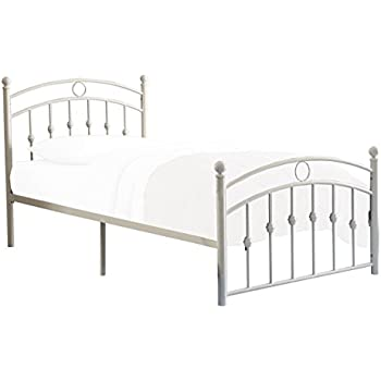 homelegance tiana classic metal platform bed with arched headboard and footboard white twin