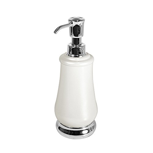 Soap Dispenser Pump Bottle for Kitchen, Bathroom | Also Can be Used for Hand Lotion & Essential Oils - Pearl White/Chrome (Essentials White Pearl)
