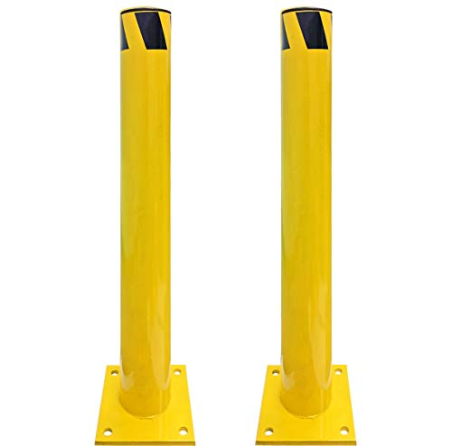 (Electriduct 3 Feet Steel Pipe Safety Bollard Post Yellow/Black Stripe - Parking Lot Traffic Barrier (36