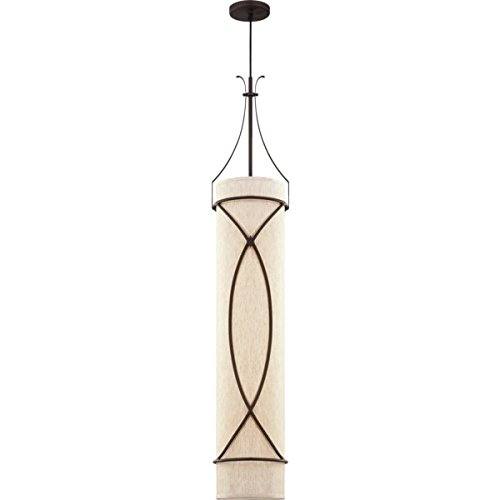 504727 Three Light Fluorescent Pendant Fixture Antique Bronze Ecru Linen Shade by HD SUPPLY