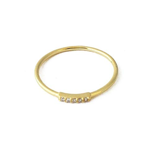 Ring Gold Plate - HONEYCAT Mini Crystal Row Ring in 24k Gold Plate | Minimalist, Delicate Jewelry (Gold 5)