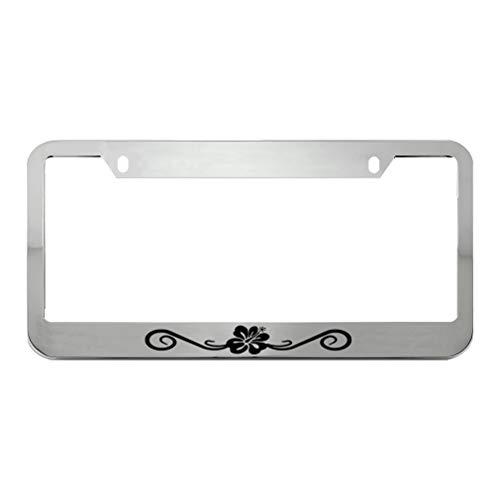 Speedy Pros Hibiscus Floral Wave Zinc Metal License Plate Frame Car Auto Tag Holder - Chrome 2 Holes