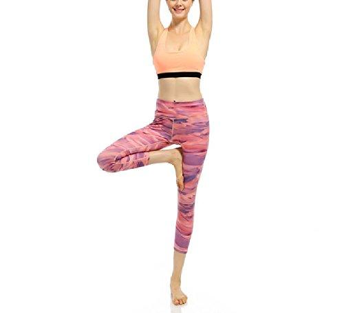 De Yoga Jogging Tela Pantalones Aptitud Mujer Deportivos Compresión Polainas La Rojo Fuweiencore 5X4RHOw
