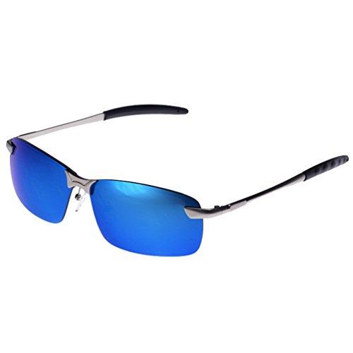 Lunettes LINNUO Aviateur Cadre Eyewear Métal Retro Hommes Polarisées Bleu Sunglasses Lentille UV de Soleil Femmes Protection SFxHdrqF