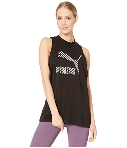 PUMA Women's Clash All Over Print Tank TOP, Cotton Black, L