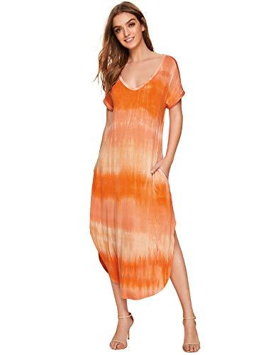MAKEMECHIC Casual Maxi Short Sleeve Split Tie Dye Long Dress 2-Multi S