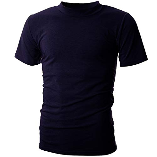Neck Mock Sleeve Short - UUANG Men's Short Sleeve Mock-Neck Causal Basic Solid T Shirt (Navy Blue,S)