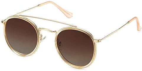 SOJOS Small Retro Round Polarized Sunglasses UV400 Double Bridge Sunnies SUNSET SJ1104