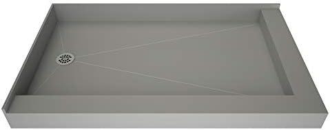 Tile Redi USA B3754L-DRRDPVZ Redi Base Shower Pan, 54 W x 37 D Right Dual Curb, Polished Chrome