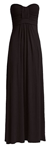 Crazy Girls Womens Boobtube Knot Front Bow Bandeau Maxi Long Dress (S/M-US6/8, Black)
