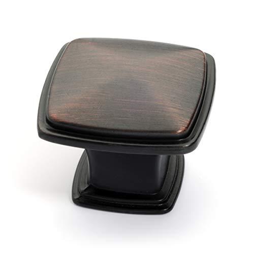 Dynasty Hardware K-81091-10B-50PK Cabinet Hardware 1-1/4-Inch Square Knob, Oil Rubbed Bronze, 50-Pack